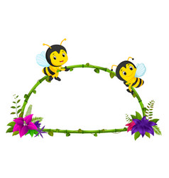 frame of bamboo and bee vector image
