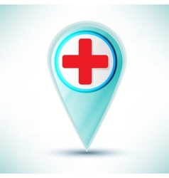 glossy medical web icon design element on a blue vector image