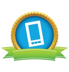 Gold smartphone logo vector