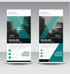 Green black business roll up banner flat design vector