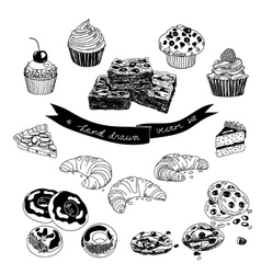 Hand drawn set with cakes and sweets vector