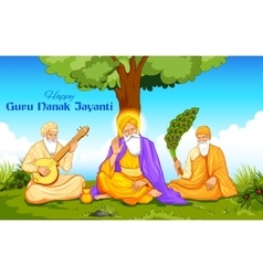 Happy Guru Nanak Jayanti festival of Sikh vector image vector image