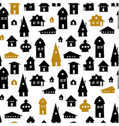 Houses Seamless pattern Old town backgrou vector image vector image