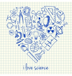 I love science doodles in heart vector