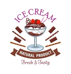 Ice cream dessert with chocolate and fruit symbol vector image