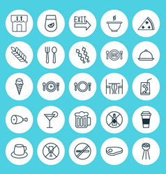 Icons set collection of wheat doorway meal hour vector