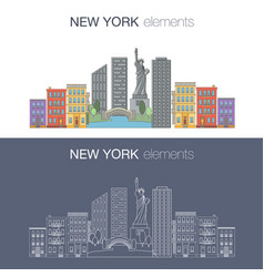 New york flat banner vector