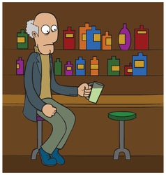 Oldman at bar cartoon vector image vector image