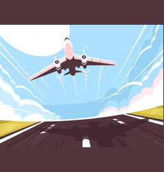 passenger plane takes off from runway vector image vector image