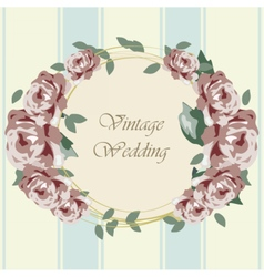 Roses in circle vintage frame vector image vector image