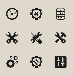 set of 9 editable repair icons includes symbols vector image