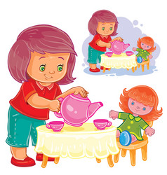 Small girl plays with a doll treats her with tea vector