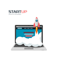 successful launch of startup project vector image