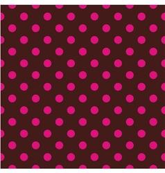Tile pattern pink polka dots on brown background vector image vector image