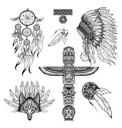 Tribal doodle set vector