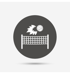 Volleyball net fireball icon Beach sport symbol vector image
