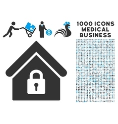 Lock building icon with 1000 medical business vector