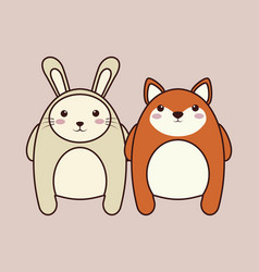 kawaii couple of animals icon vector image
