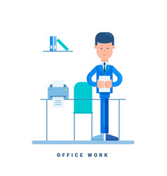 Office worker standing at the table business vector