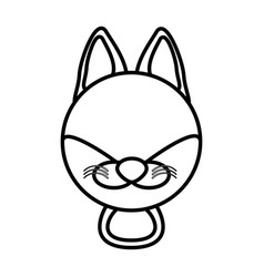 Outline fox head animal vector