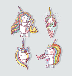 Set beautiful unicorn with long mane vector