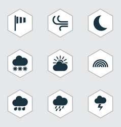 Climate icons set collection of flag breeze sun vector