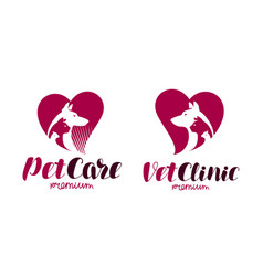 vet clinic pet shop logo animals dog cat vector image