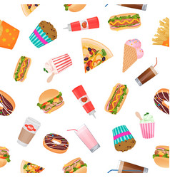 realistic flat seamless pattern of fast food vector image