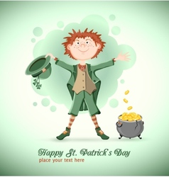 Saint Patrick Day Leprechaun with magic pot vector image