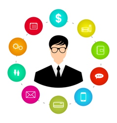 Businessman around icons social media networks and vector