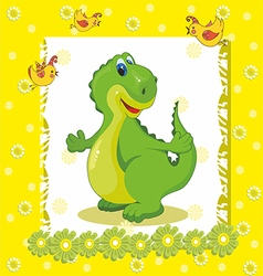 baby card with a dinosaur on a yellow background vector image