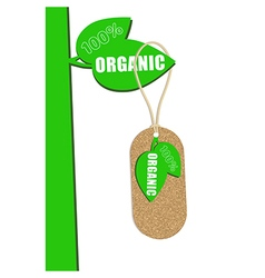 100 percent organic cork natural tag sale label vector