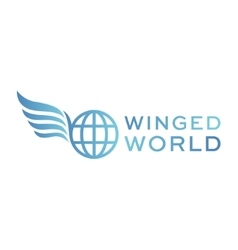 Winged logo planet earth abstract high vector