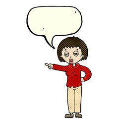 Cartoon woman telling off with speech bubble vector