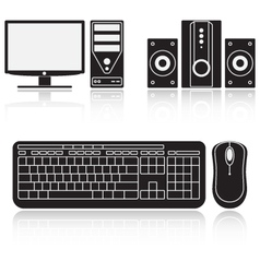 Icons of computer audio system keyboard and mouse vector