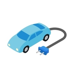 Electric car icon isometric 3d style vector