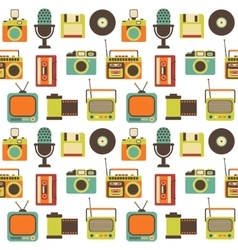 Seamless pattern with retro technology vector