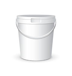 White mock up food plastic tub bucket container vector