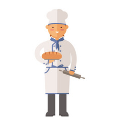 Beautiful young chef baker character vector