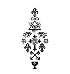 Christian column symbols of faith vector