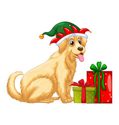 Christmas theme with cute dog and presents vector