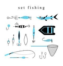 Collection of various fishing gear made in a mode vector