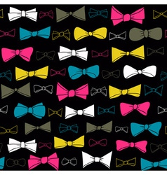 Cute seamless pattern of colored bows on black vector image vector image