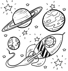 Doodle space planets rocket ship stars explore vector