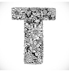 Doodles font from ornamental flowers - letter t vector