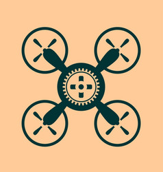 Drone quadrocopter icon cog wheel symbol vector