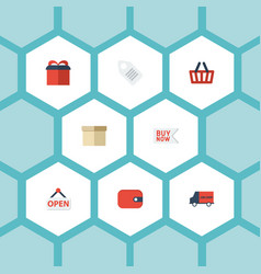 flat icons bus case purse and other vector image