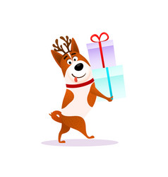 funny cartoon dog with xmas gift happy puppy vector image