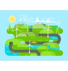 Green energy flat design vector image vector image