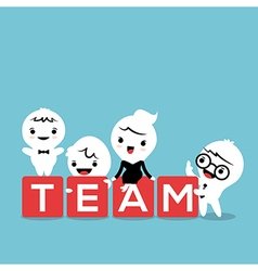 Group of business person with team word block vector